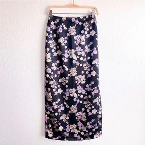 Lavender & Sage Floral Satin Maxi Skirt